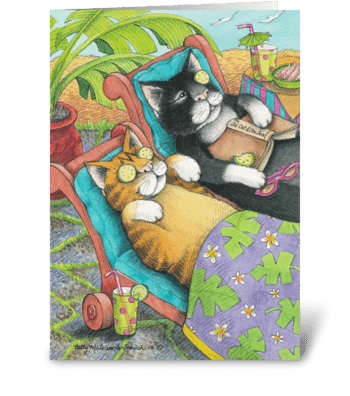 Spa Cats Birthday #28 greeting card