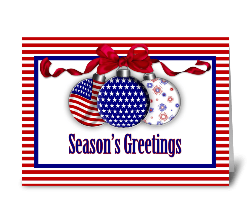 Patriotic christmas ornaments send this greeting card designed by patriotic christmas ornaments greeting card m4hsunfo