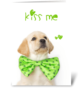 Kiss Me St. Patricks Day Puppy greeting card