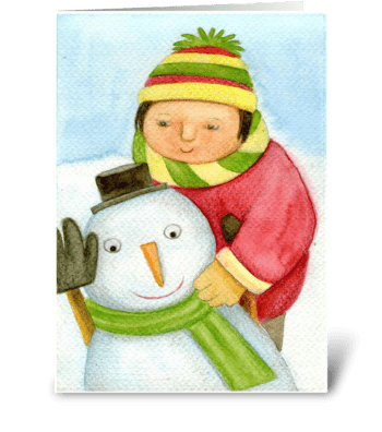 the child and the snowman greeting card