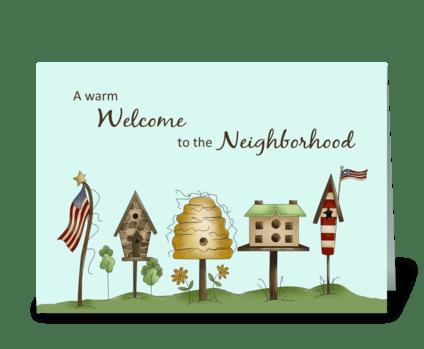 Welcome to Neighborhood Birdhouses & Fla greeting card