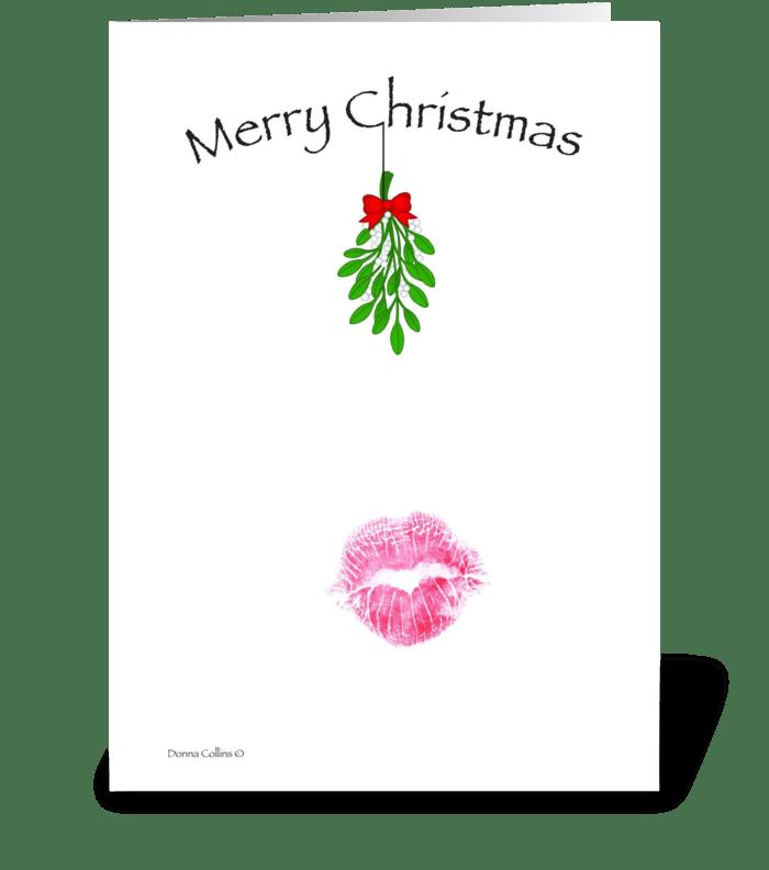 Christmas Mistletoe Kiss greeting card