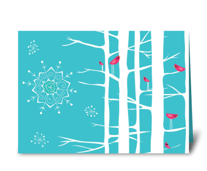 Winter Wonderland Trees Teal/Pink greeting card