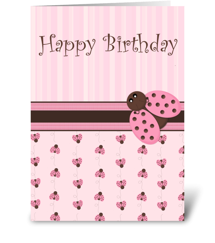 Pink & Brown Ladybug greeting card
