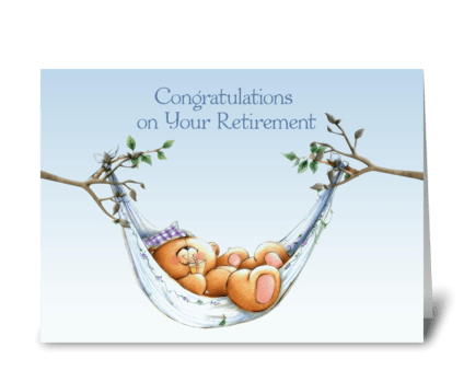 Retirement Bear, Hammock greeting card