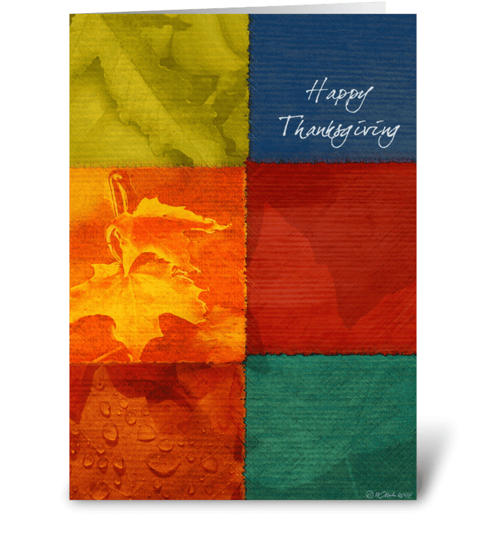 Patchwork of Colors Thanksgiving Card greeting card