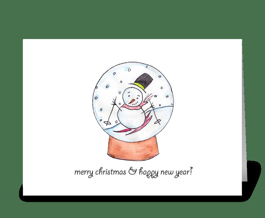 Snow Globe Skier  greeting card