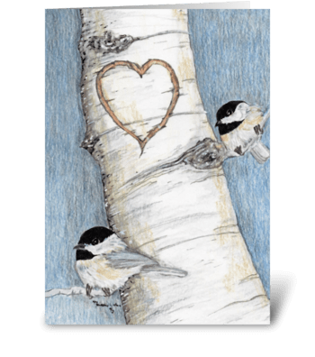 Chickadees and carved heart greeting card
