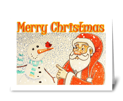 Santa and Robin greeting card