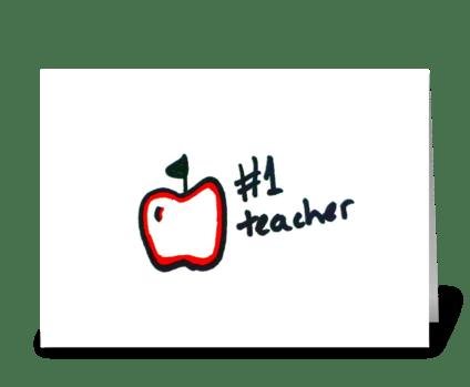 #1 Teacher greeting card