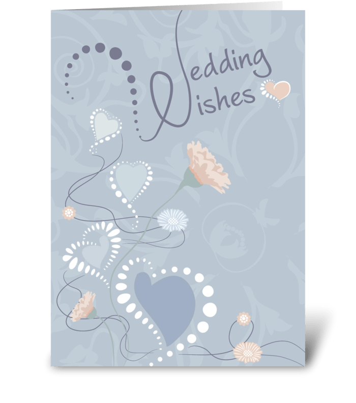Wedding Wishes Hearts and Flowers greeting card