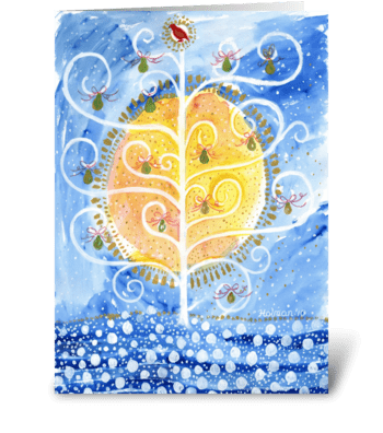 Partridge in Pear Tree Christmas greeting card