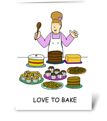 Love to Bake Lady Baking greeting card