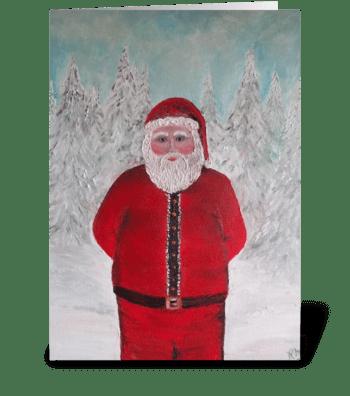 Ho Ho Ho MERRY CHRISTMAS SANTA art greeting card