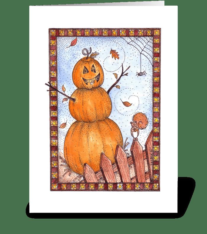 Friendly Fall Jack-O-Lantern greeting card