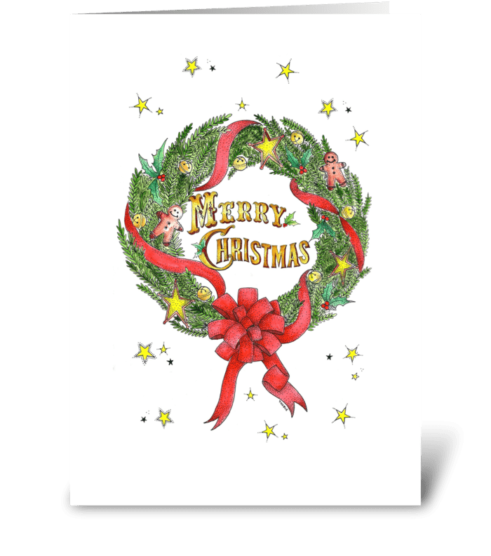 Old Fashioned Holiday Wreath greeting card