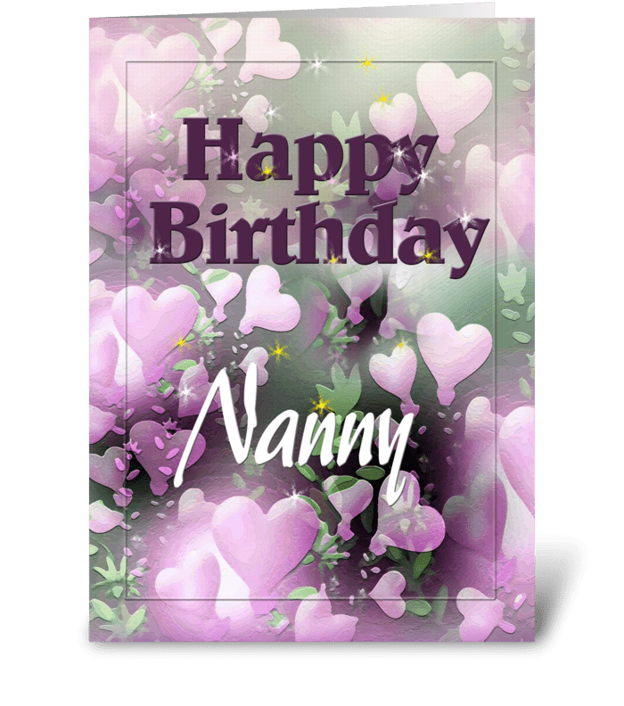 Happy Birthday Nanny, Pretty hearts greeting card
