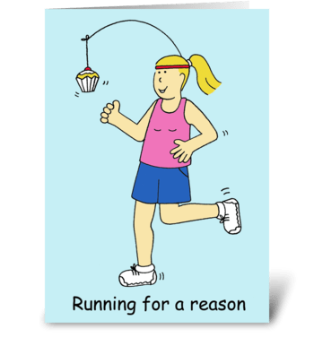 Running for cake. greeting card