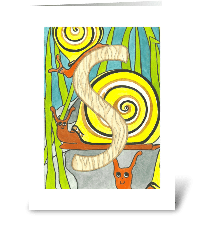 S for Snail greeting card