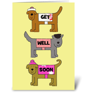 Get well soon, dogs in coats and hats. greeting card