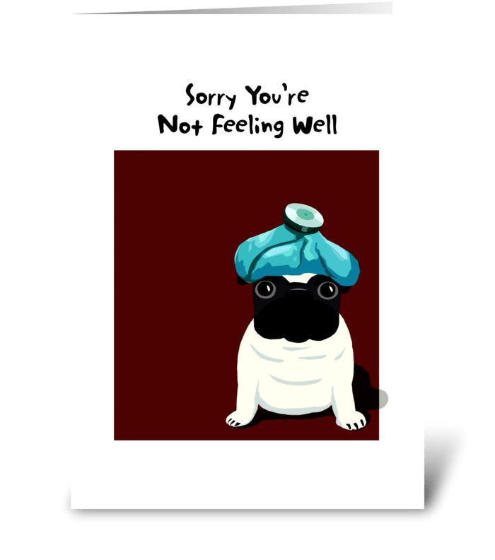 Pug Get Well greeting card