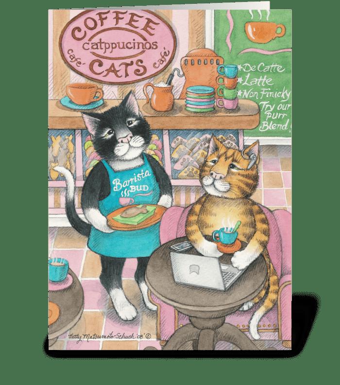 Internet Kitty Cafe' Birthday #40 greeting card