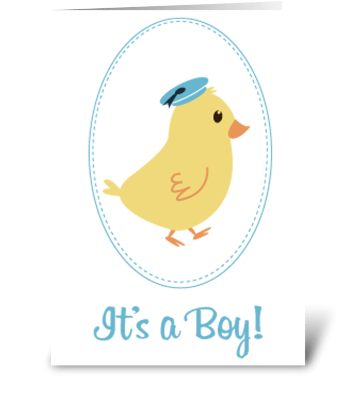 Little Boy Chick Baby Announcement greeting card