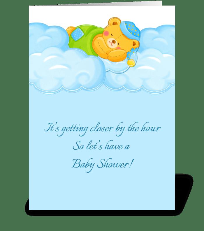 Blue Clouds, Sleeping Bear, Baby Shower  greeting card