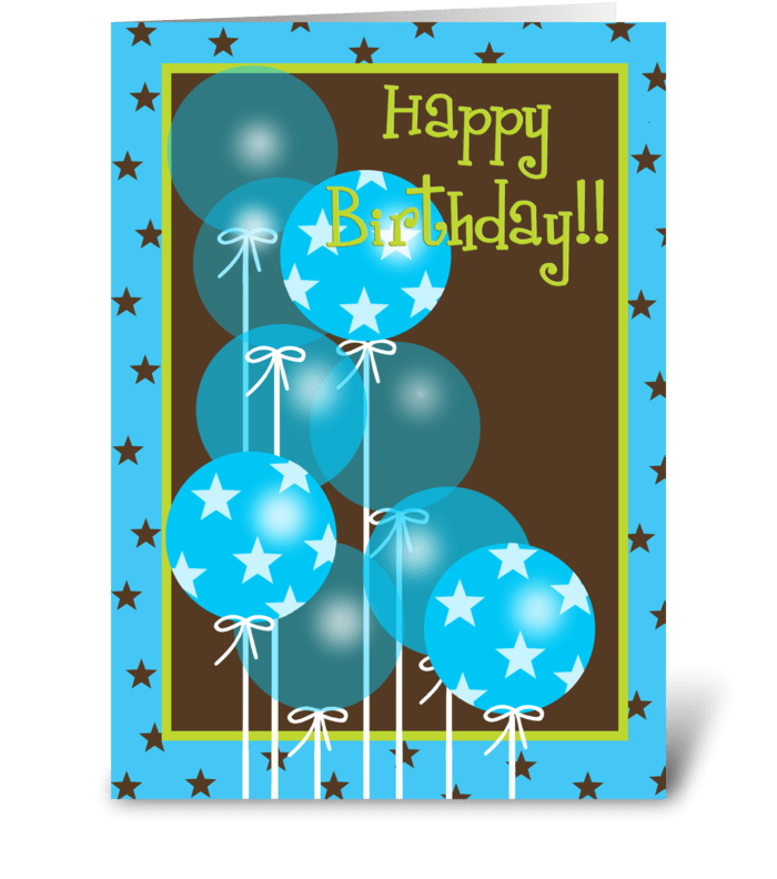 Happy Birthday Blue Balloons greeting card
