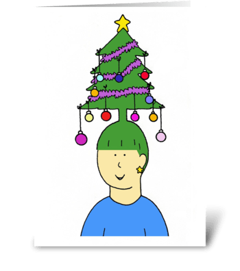 Christmas tree hair. greeting card