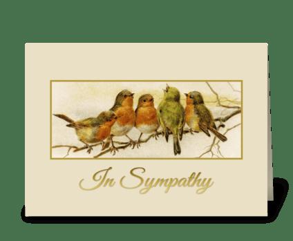 In Sympathy Vintage birds  greeting card