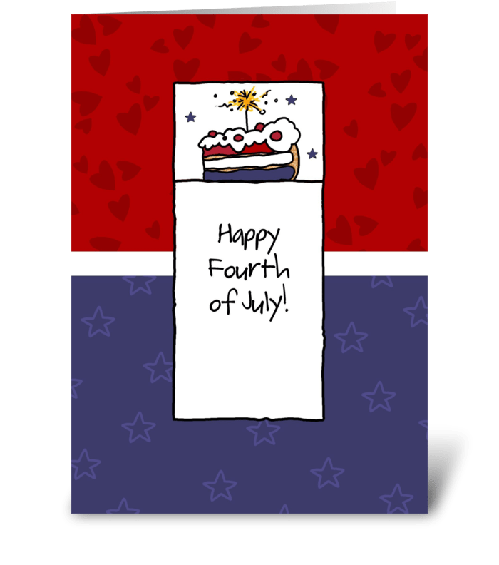 Fourth of July - Sparkler Cake greeting card