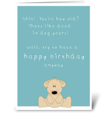Funny age birthday card greeting card
