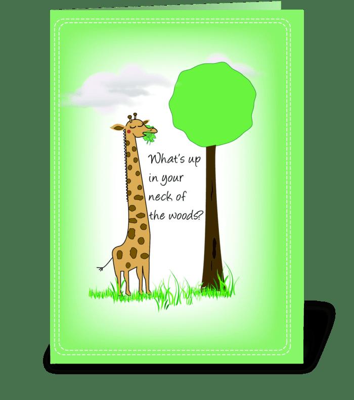 Giraffe, Hello greeting card