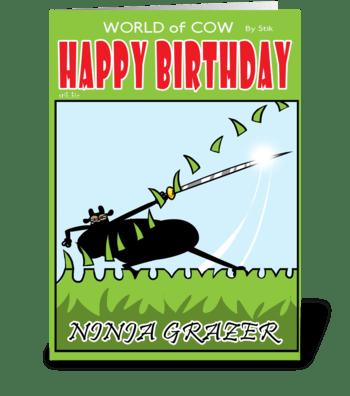 Ninja Cow Birthday Card greeting card