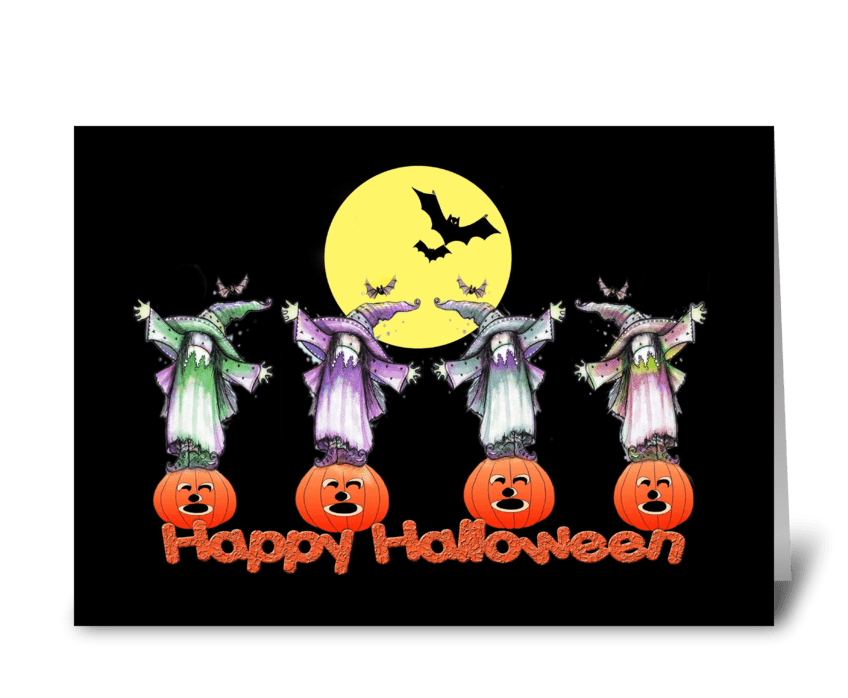 Pumpkins, Bats & Witches, Halloween Card greeting card