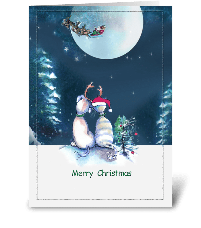 2 Pals , Merry Christmas ART greeting card