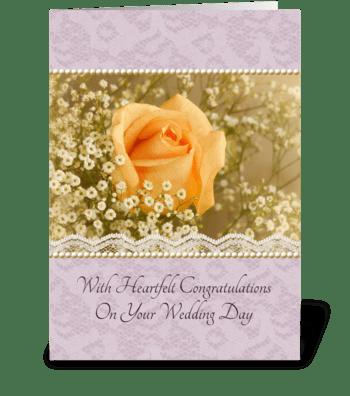 Peach Rose Wedding Congratulations greeting card