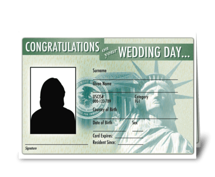 Wedding card green card greeting card
