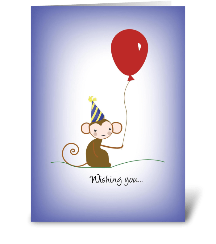 Monkey Balloon Birthday Hat greeting card
