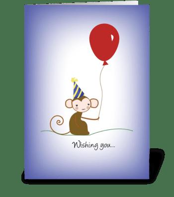 Monkey Balloon Birthday Hat greeting card