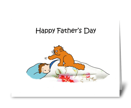 Happy Father's Day funny cat and sleepin greeting card