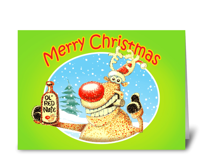 Deer Beer Christmas Card greeting card
