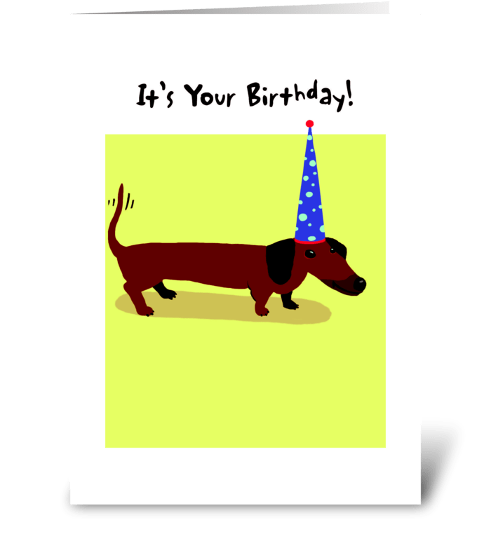 Dachshund Birthday Party Hat Send This Greeting Card Designed By