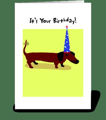 Dachshund Birthday Party Hat greeting card
