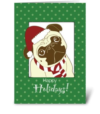 Pug Dog Christmas Humorous, Funny greeting card