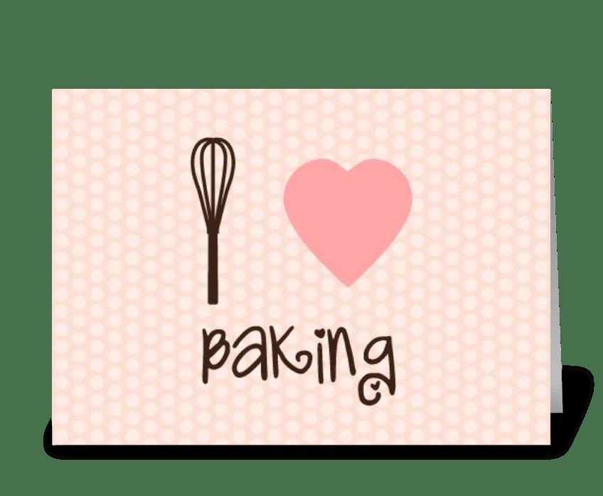 I heart baking greeting card