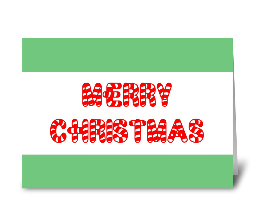 Candy Cane Merry Christmas greeting card