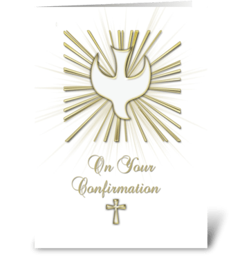Confirmation Dove Gold greeting card