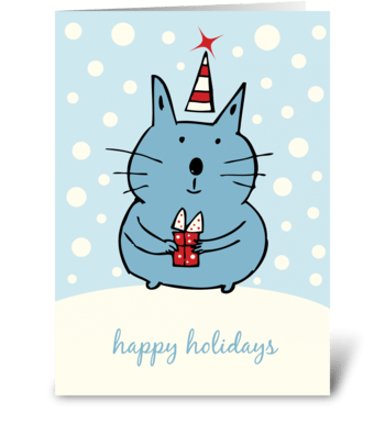 Cute Christmas Cat greeting card